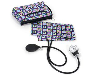 Premium Aneroid Sphygmomanometer With Carry Case, Adult, Four Square Hearts, Print