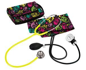 Aneroid Sphygmomanometer / Clinical I Stethoscope Kit, Adult, Owls Black, Print