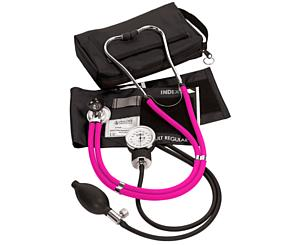 Aneroid Sphygmomanometer / Sprague-Rappaport Stethoscope Kit, Adult, Neon Pink