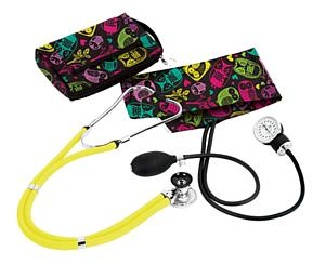 Aneroid Sphygmomanometer / Sprague-Rappaport Stethoscope Kit, Adult, Owls Black, Print