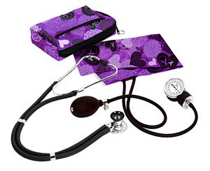 Aneroid Sphygmomanometer / Sprague-Rappaport Stethoscope Kit, Adult, Ribbons and Hearts Purple